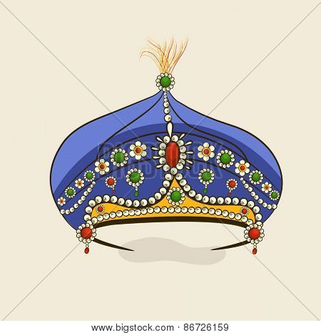 Beautiful decorative stylish blue crown isolated on beige background.