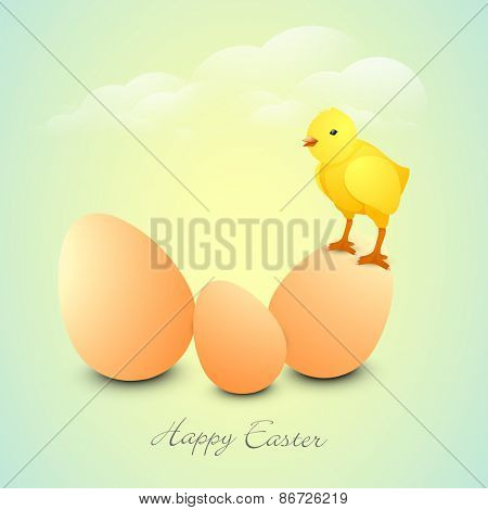 Cute chick standing on a egg for Happy Easter celebration on shiny cloudy background.