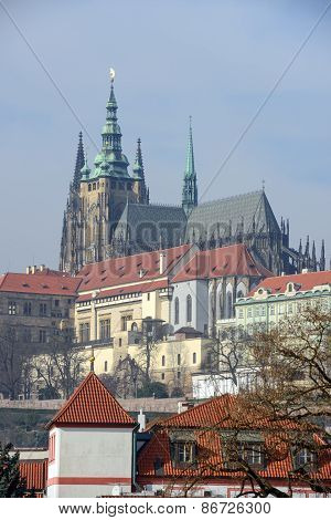 Famous View From Manes Bridge Toward Prague Castle.