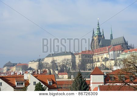 Panoramic View From Manes Bridge Toward Prague Castle.