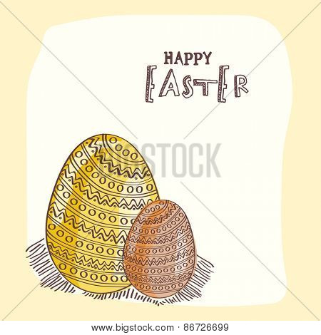 Happy Easter celebration greeting card with shiny floral decorated eggs.