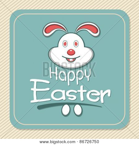 Vintage greeting card with cute bunny and eggs for Happy Easter celebration.