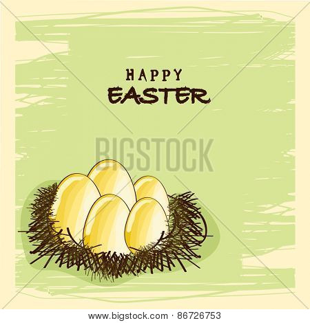 Happy Easter celebration greeting or invitation card design with golden eggs in the nest on stylish background.