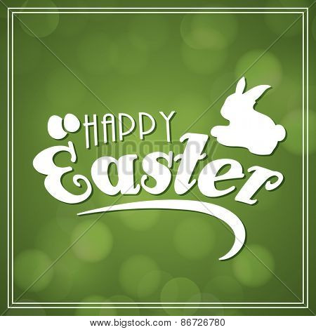 Beautiful greeting card design with rabbit and eggs on shiny green background for Happy Easter celebration.