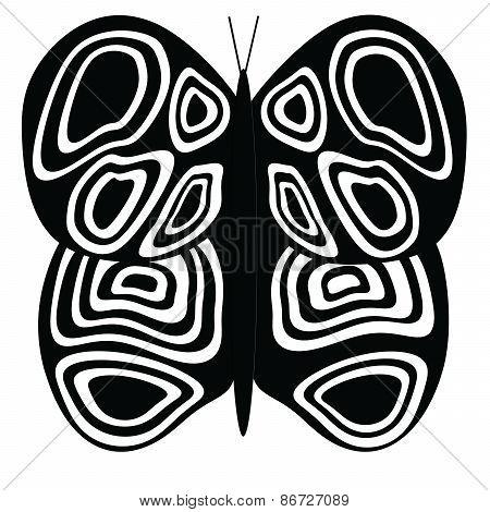 Black-Black-Black Large Butterfly on White