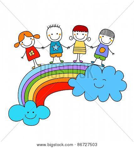 happy children on a rainbow