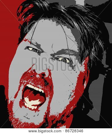 Vector Drawing Of A Furiously Angry Man Shouting Frantically