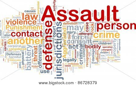 Background concept wordcloud of assault crime