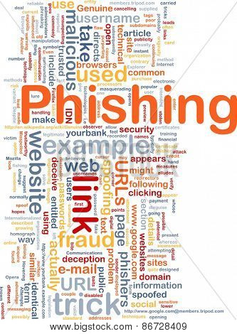 Background concept wordcloud of phishing trick