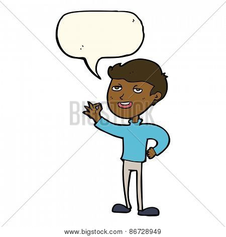 cartoon man making excellent gesture with speech bubble