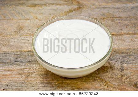 Sour Cream In A Glass Bowl