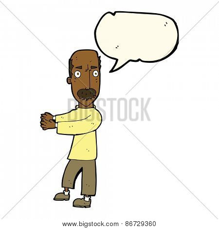 cartoon balding man explaining with speech bubble