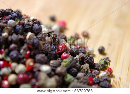 Spices on a wooden surface