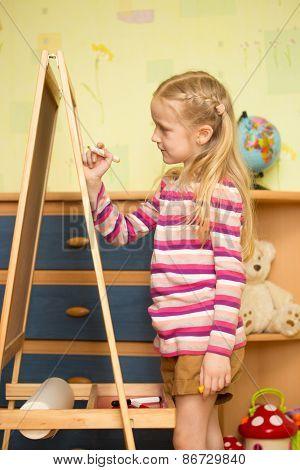 Girl Draws On An Easel