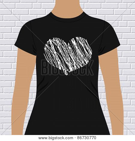 Black and white heart on a t-shirt template