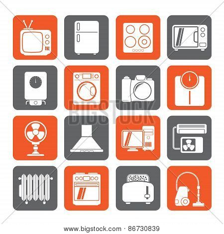 Silhouette home appliances and electronics icons