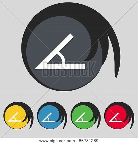 Angle 45 Degrees Icon Sign. Symbol On Five Colored Buttons. Vector