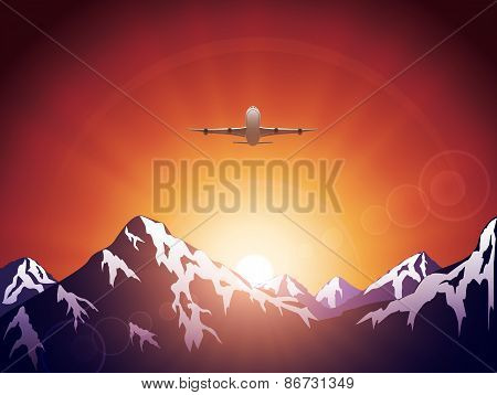 Plane In Mountains