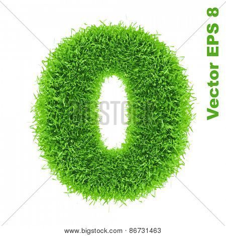Digit symbol 0 of grass alphabet, vector illustration EPS 8.
