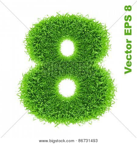 Digit symbol 8 of grass alphabet, vector illustration EPS 8.