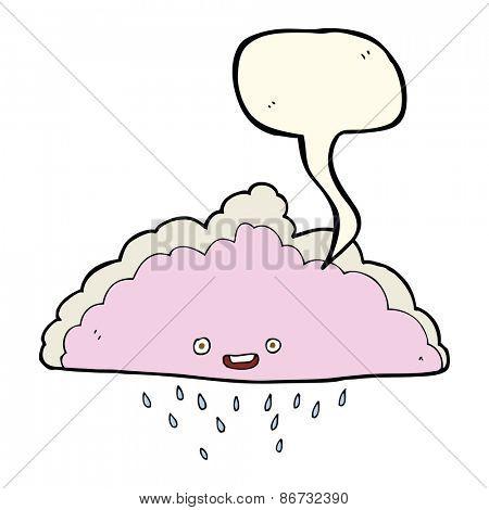 cartoon rain cloud with speech bubble