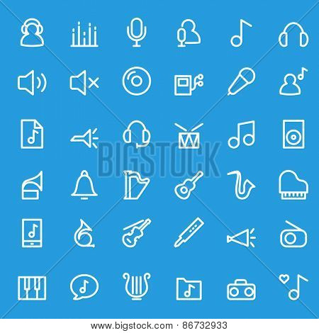 Music icons, simple and thin line design