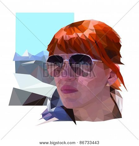 portrait of the woman with red hair and glasses in low poly style