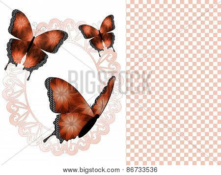 Three Copper Butterflies and Oval Frame Presentation Slide Background