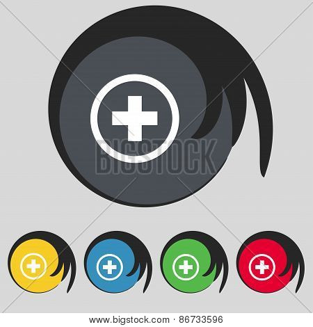 Plus, Positive, Zoom Icon Sign. Symbol On Five Colored Buttons. Vector
