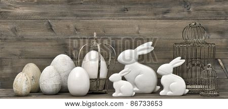 Easter Bunnies And Eggs. Retro Style Decoration
