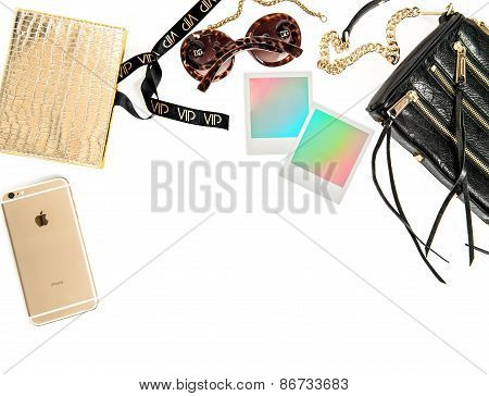 Fashion Mockup With Business Lady Accessories And Polaroid Photo Frames