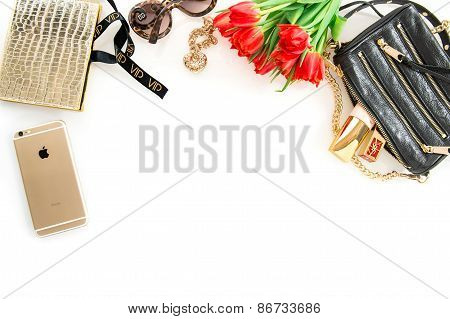 Fashion Mockup With Accessories, Flowers, Cosmetics And Jewelry. Online Shop