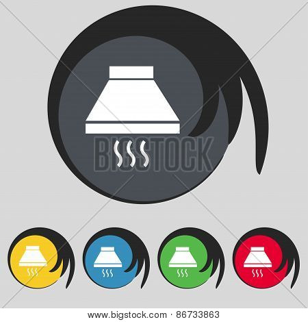 Kitchen Hood Icon Sign. Symbol On Five Colored Buttons. Vector