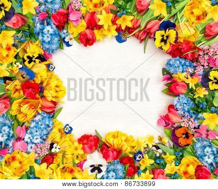 Spring Flowers On Wooden Background. Tulips, Narcissus, Hyacinth