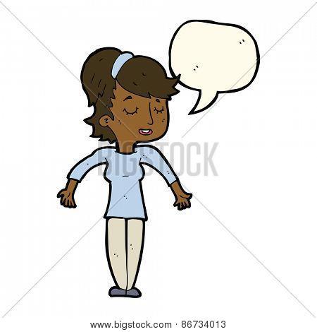 cartoon friendly woman shrugging shoulders with speech bubble