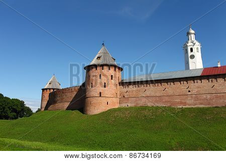 View of the fortress wall of the Novgorod Kremlin