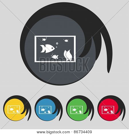 Aquarium, Fish In Water Icon Sign. Symbol On Five Colored Buttons. Vector