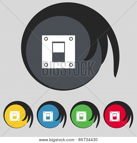 Power Switch Icon Sign. Symbol On Five Colored Buttons. Vector