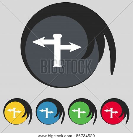 Blank Road Sign  Icon Sign. Symbol On Five Colored Buttons. Vector