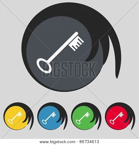 Key Icon Sign. Symbol On Five Colored Buttons. Vector