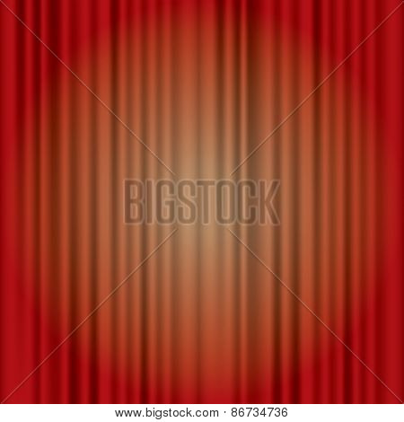 vector red stage with spotlight