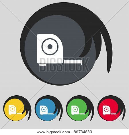 Roulette Construction Icon Sign. Symbol On Five Colored Buttons. Vector