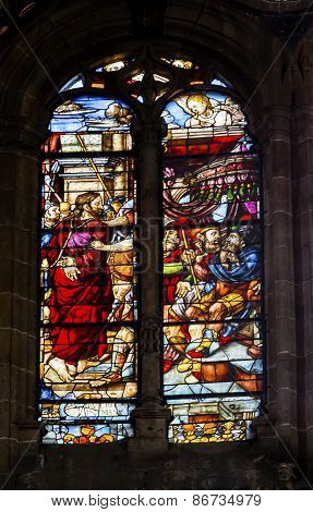 Jesus Way To Cross Stained Glass Salamanca New Cathedral Spain
