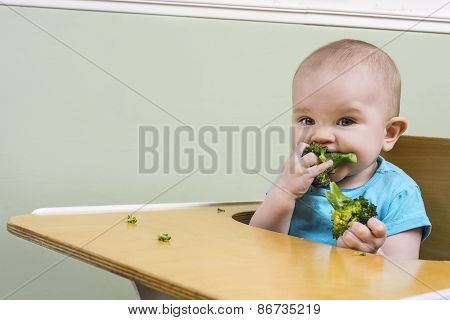 Funny Baby Eating Broccoli