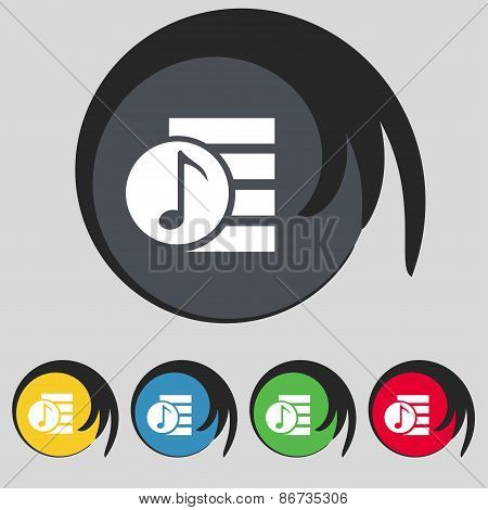 Audio, Mp3 File Icon Sign. Symbol On Five Colored Buttons. Vector