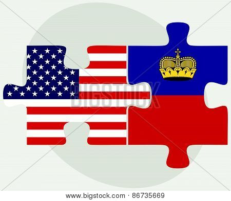 Usa And Liechtenstein Flags In Puzzle
