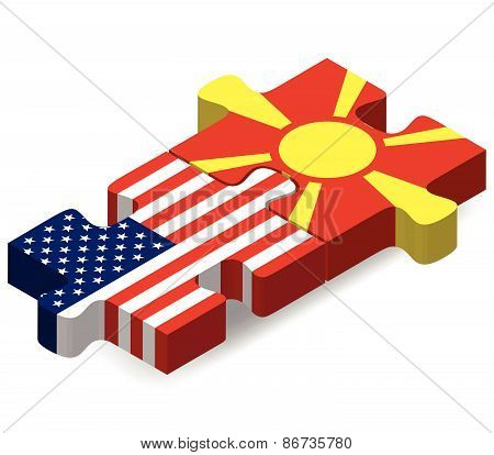 Usa And Republic Of Macedonia Flags In Puzzle
