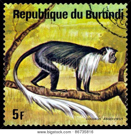 Vintage  Postage Stamp. Colobus Monkey. Animals Burundi.