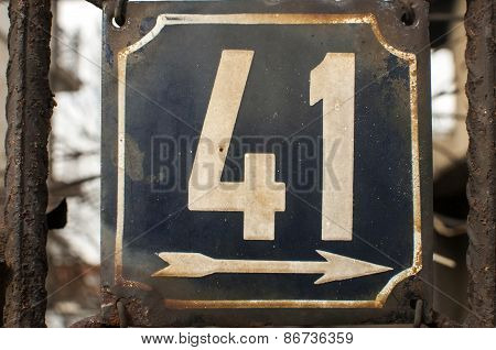Weathered enameled plate number 41