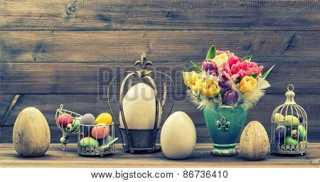 Retro Style Still Life With Tulip Flowers And Easter Eggs. Vintage Toned